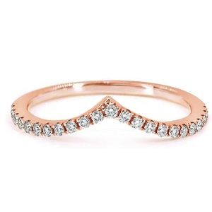 Rose Gold/CZ Wave Stackable Wedding Band/ Ring